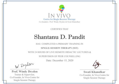 Shantanu Pandit, Outdoor Pandit, Single Session Therapy, Certificate SST