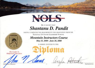 Shantanu Pandit, Outdoor Pandit, NOLS, National Outdoor Leadership School, NOLS Mountain instructors course, NOLS Diploma, Wilderness education, Outdoor Education